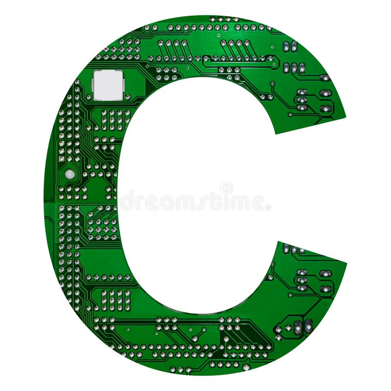 Letter C, Alphabet in circuit board style. Digital hi-tech letter isolated on white. 3d illustration.  stock illustration