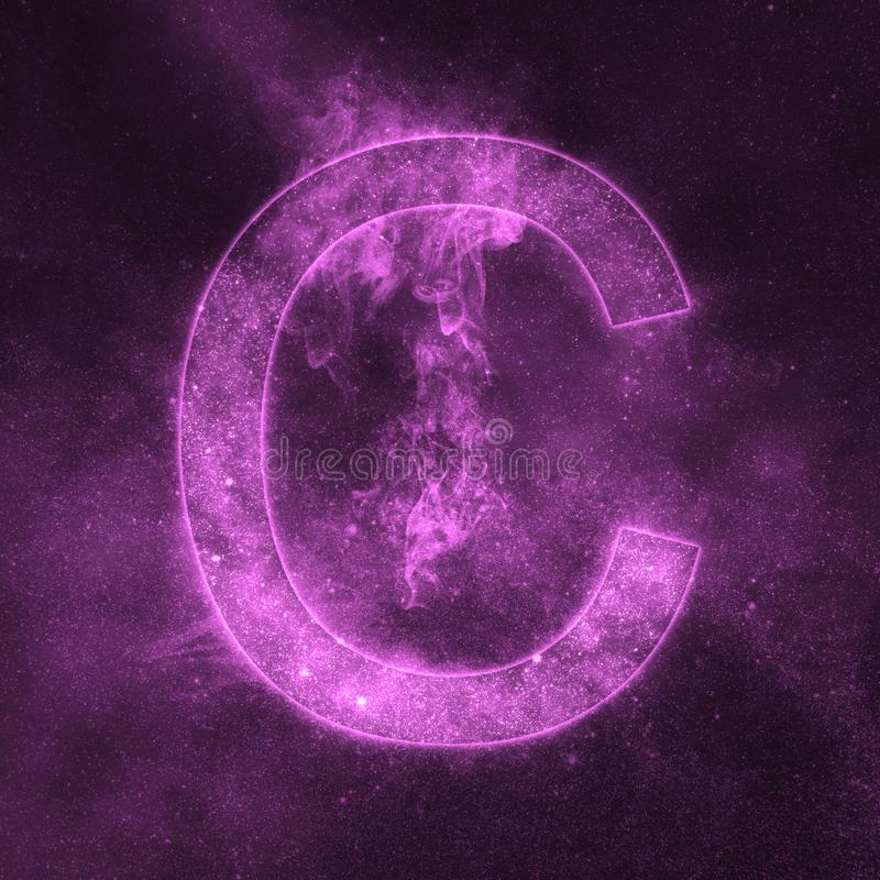 Letter C alphabet symbol. Space Letter, Night Sky Letter. Space letters royalty free illustration