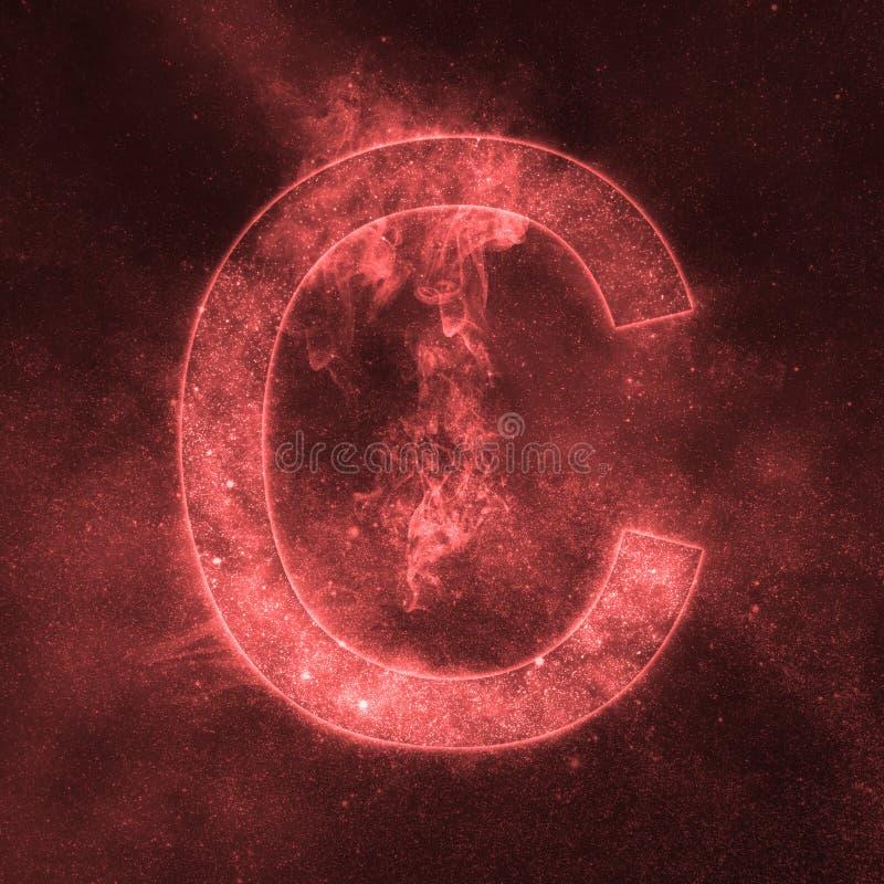 Letter C alphabet symbol. Space Letter, Night Sky Letter. Space letters vector illustration