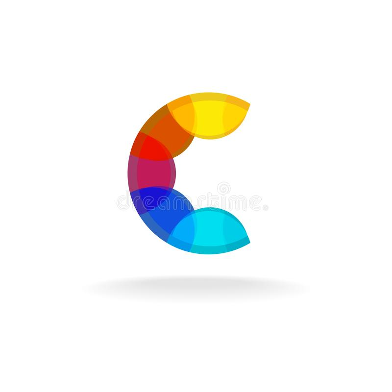 Letter C colorful overlay rainbow colors logo. ABC character color symbol royalty free illustration