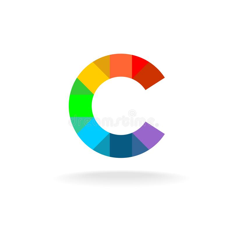 Letter C colorful rainbow logo. Overlay particles style. Mosaic color particles stock illustration