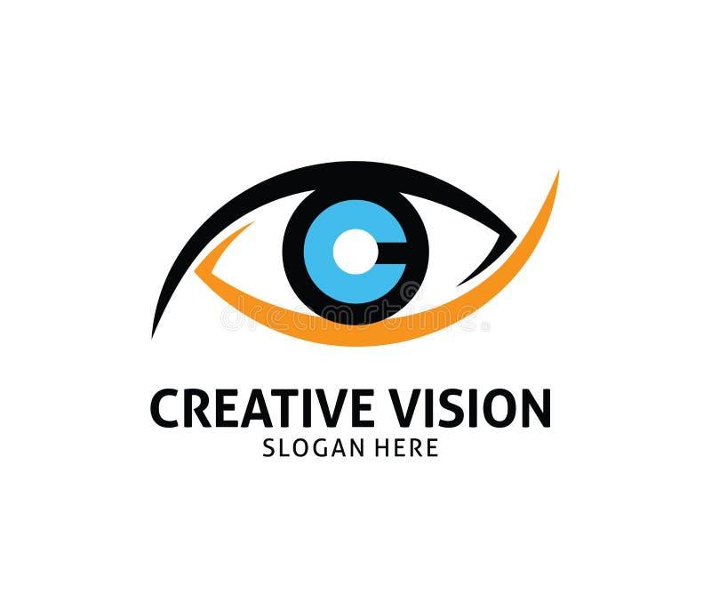 Letter c cornea eye future vision vector logo design. Template stock illustration
