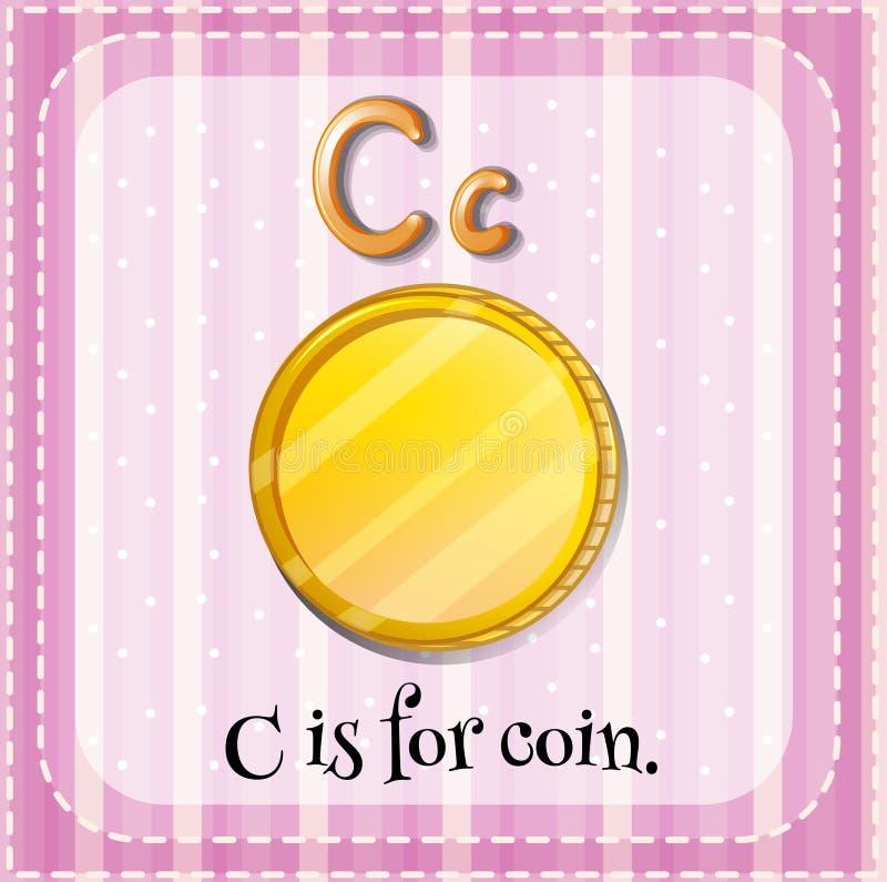 Letter C. Flashcard letter C is for coin vector illustration