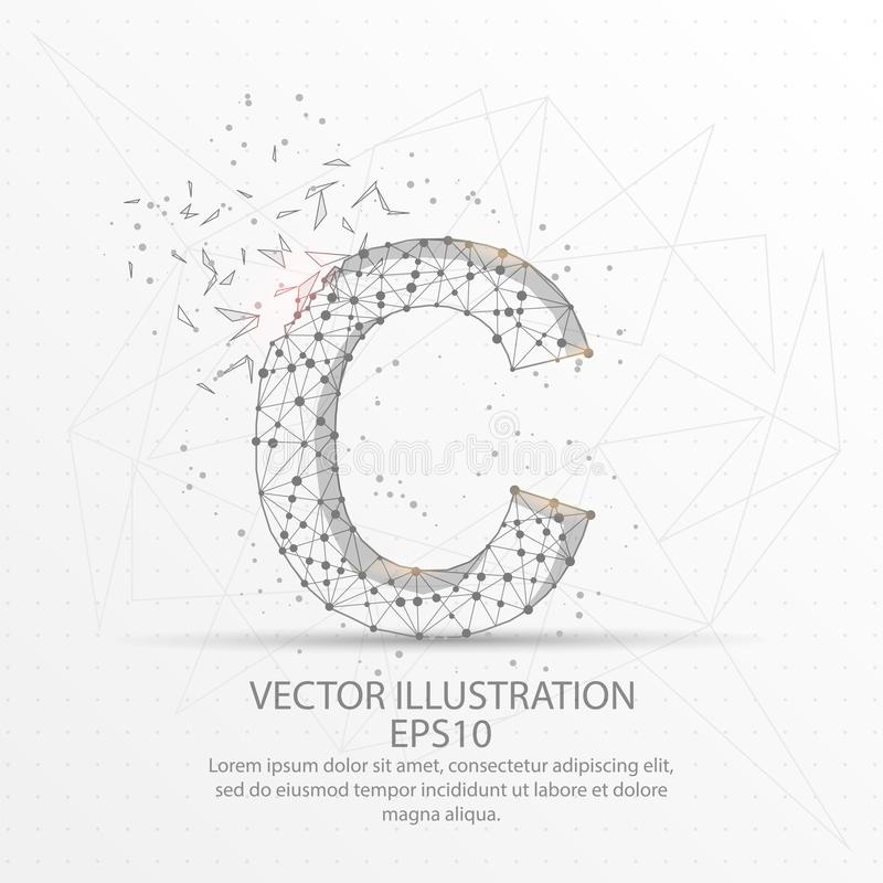 Letter C form low poly wire frame on white background. Letter C form mesh line and composition digitally drawn in the form of broken a part triangle shape and vector illustration