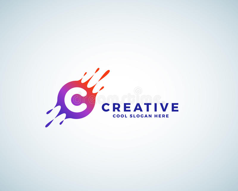 Letter C Incorporated in Colorful Gradient Blot with Splashes. Abstract Vector Sign, Emblem or Logo Template. Creative vector illustration