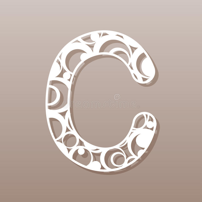 Letter C For Laser Cutting English Alphabet Stock Vector