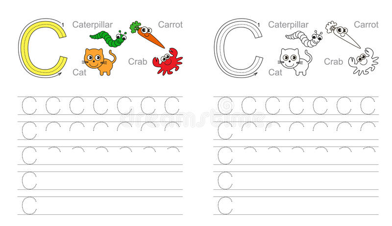 Letter C. Learn handwriting. stock image