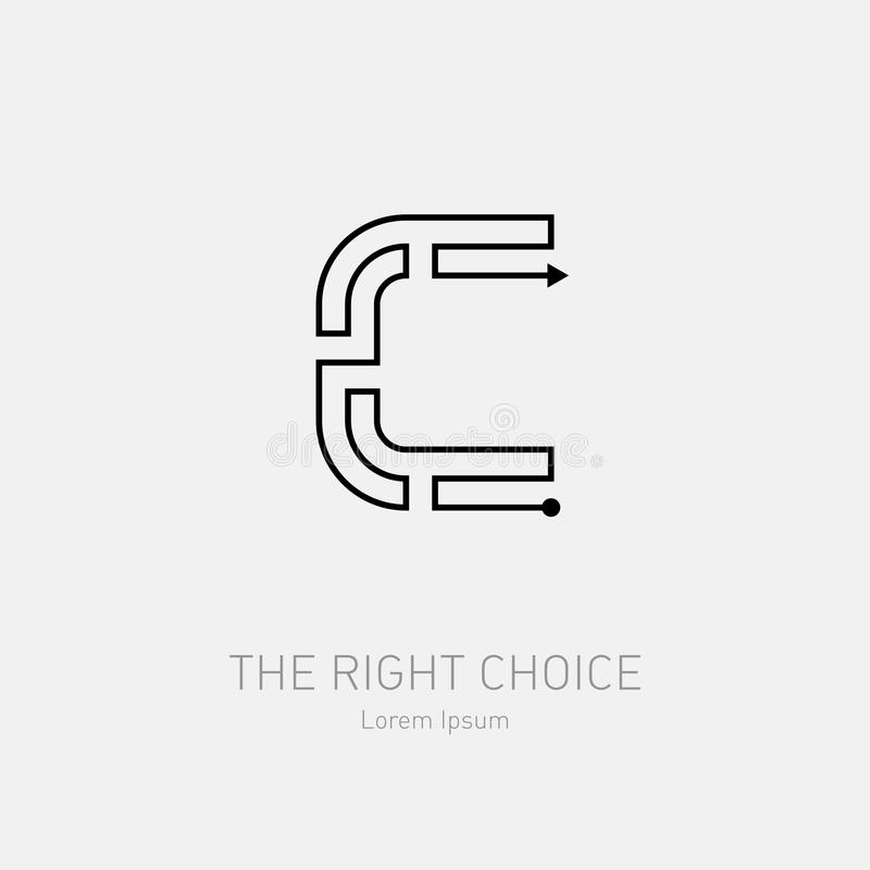 Letter C. Line art rebus, concept logotype icon. Labyrinth vector logo template. stock illustration