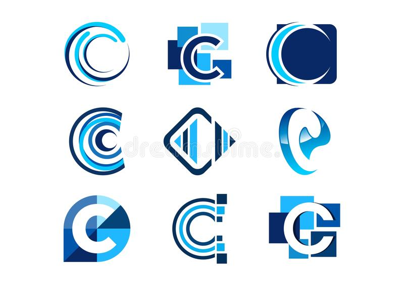 Letter c logo, concept abstract elements company logos, set of abstract logos business collections symbol icon vector design. Letters c logo, concept abstract royalty free illustration