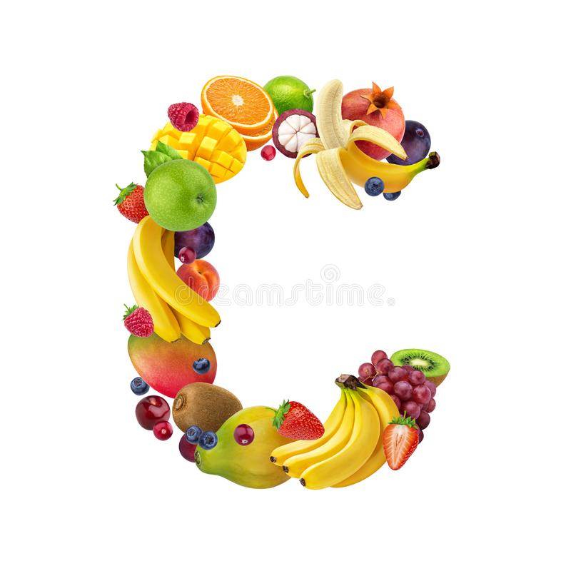 Letter C made of different fruits and berries, fruit alphabet isolated on white background stock images