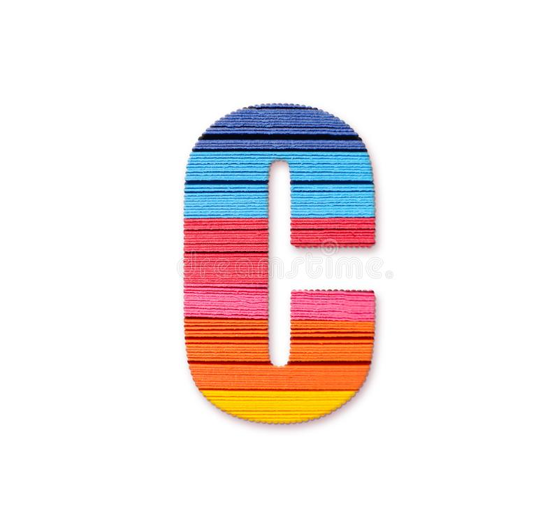 Letter C. Rainbow color paper. royalty free illustration