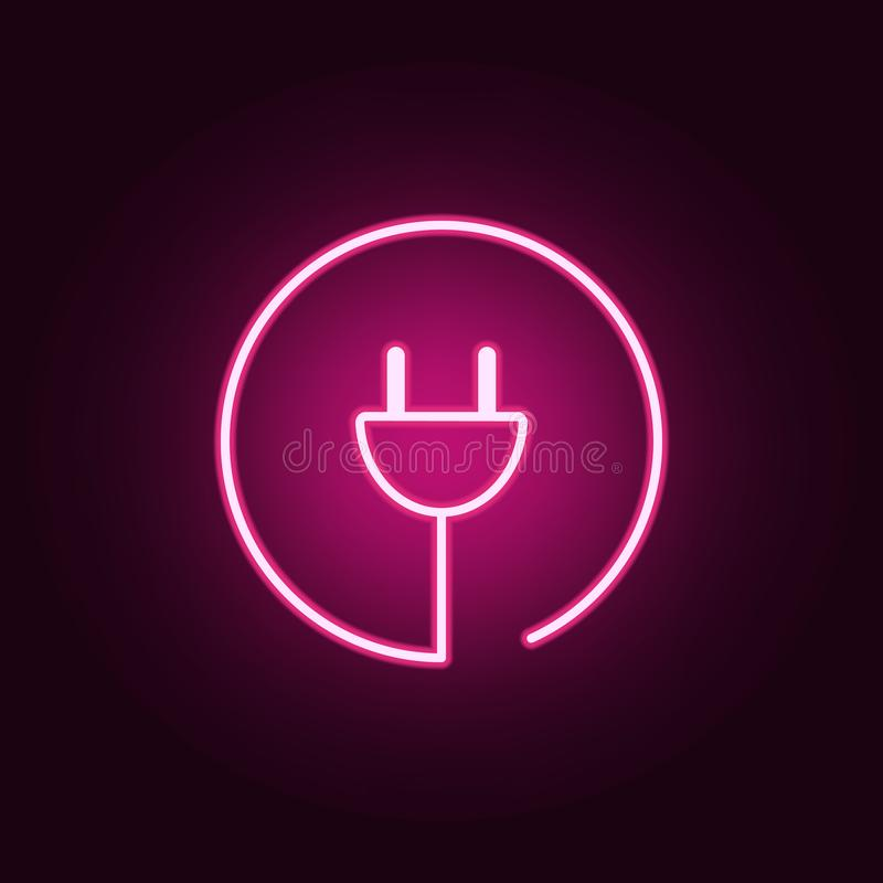letter C in round neon icon. Elements of web set. Simple icon for websites, web design, mobile app, info graphics royalty free illustration