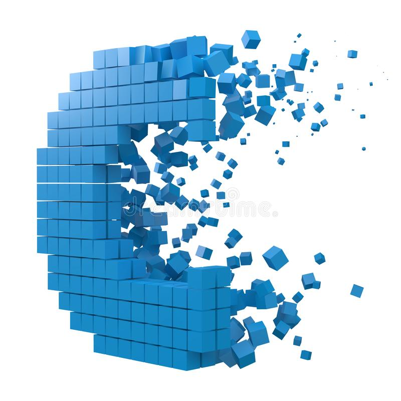 Letter C shaped data block. version with blue cubes. 3d pixel style vector illustration. Suitable for blockchain, technology, computer and abstract themes stock illustration