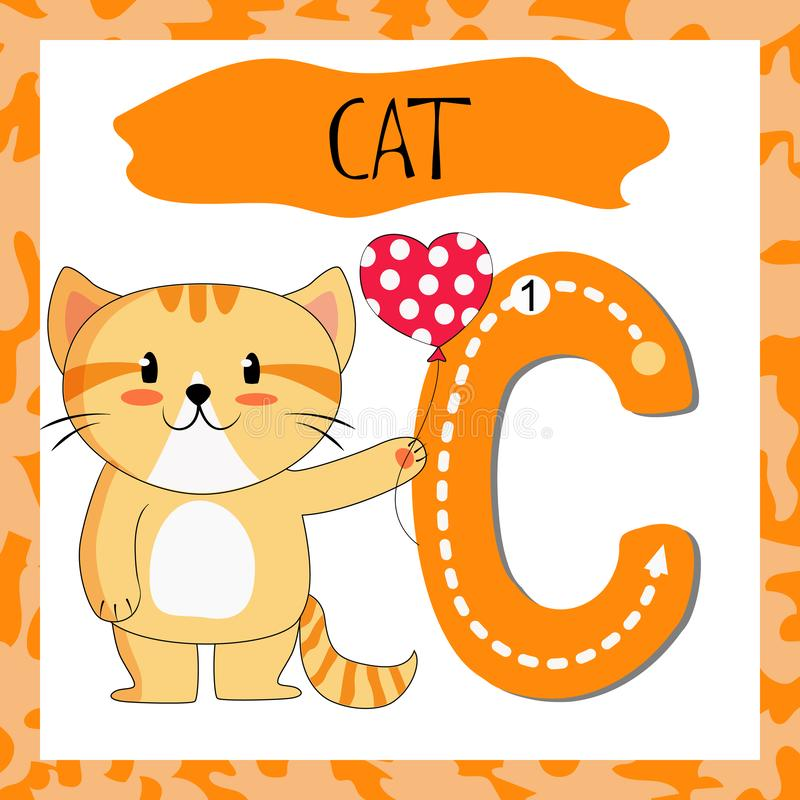 Letter C uppercase cute children colorful zoo and animals royalty free illustration