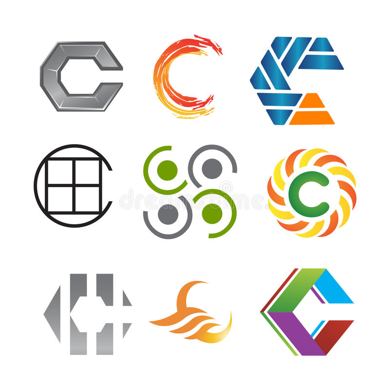 Letter `C` various great big logo pack company. Various Letter `C` big logo pack for your company royalty free illustration