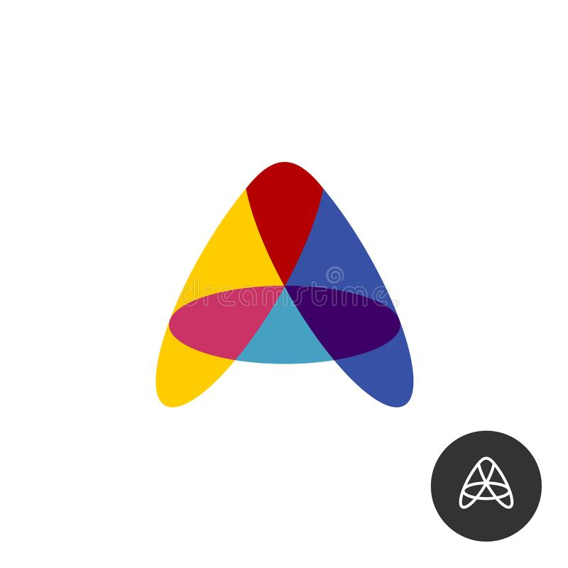 Letter A colorful overlay transparent logo from oval shapes. vector illustration