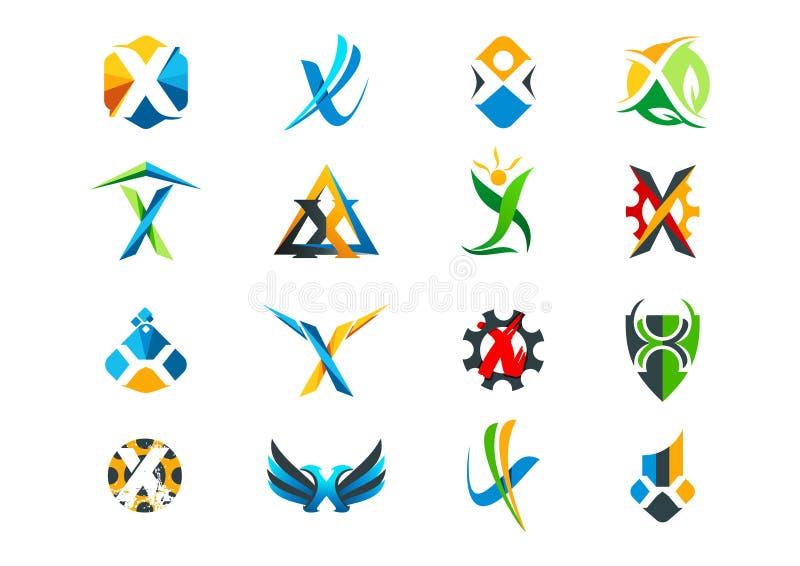 Letter x concept logo design. Elegant letter e concept logo design in a set royalty free illustration