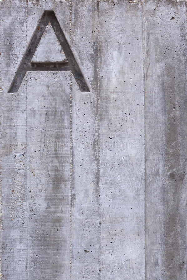 Letter A on Concrete Vertical royalty free stock image