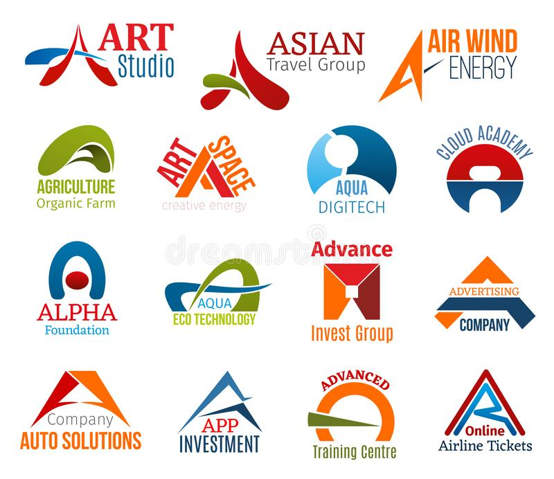 Letter A corporate identity, business icons. Corporate identity letter A business icons. Vector art and travel, energy and agriculture, education, foundation and stock illustration