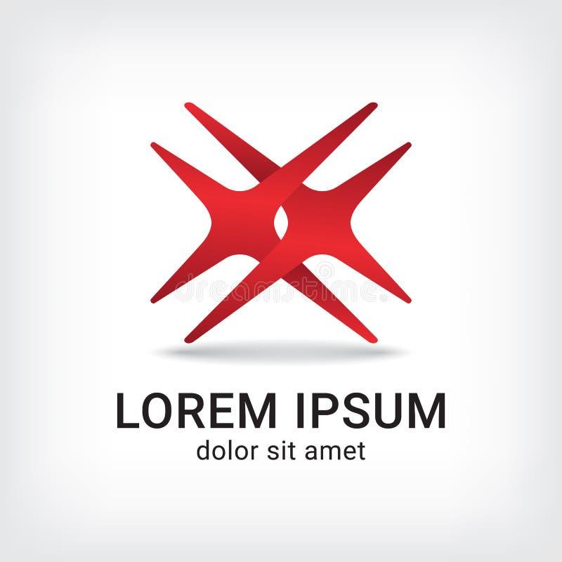 Letter X Cross Logo Curve Style Design Template Stock Vector