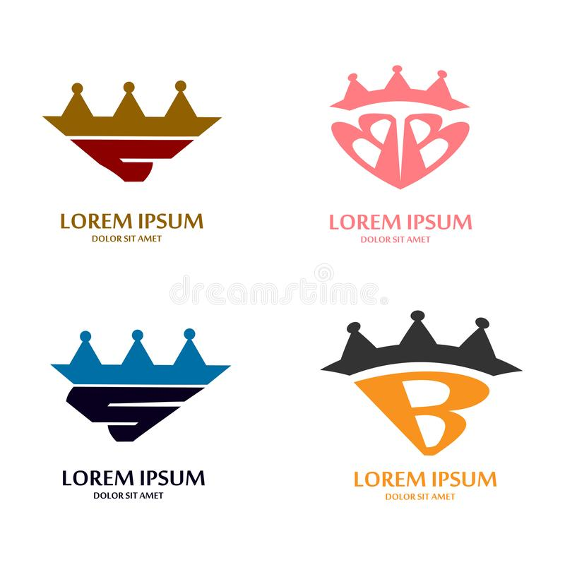 Letter and crown logo design concept stock illustration