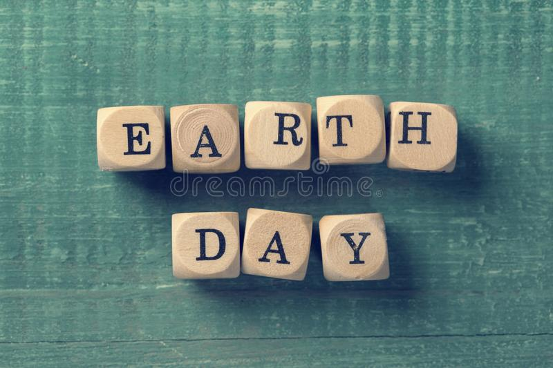 Letter cubes with word earth day. Environment concept stock photo