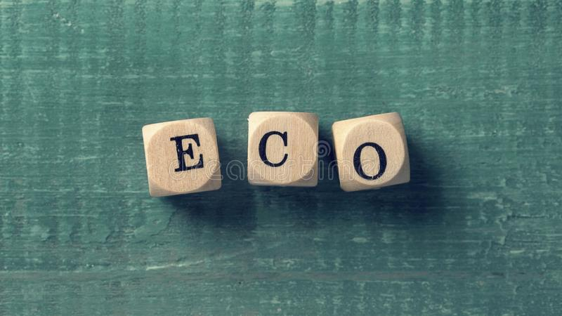Letter cubes with word eco. Environment concept royalty free stock image