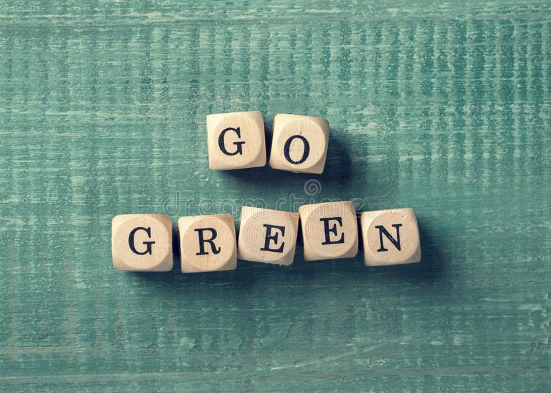 Letter cubes with word go green. Environment concept stock photography