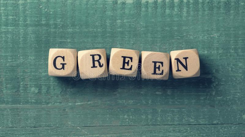 Letter cubes with word green. Environment concept royalty free stock photo