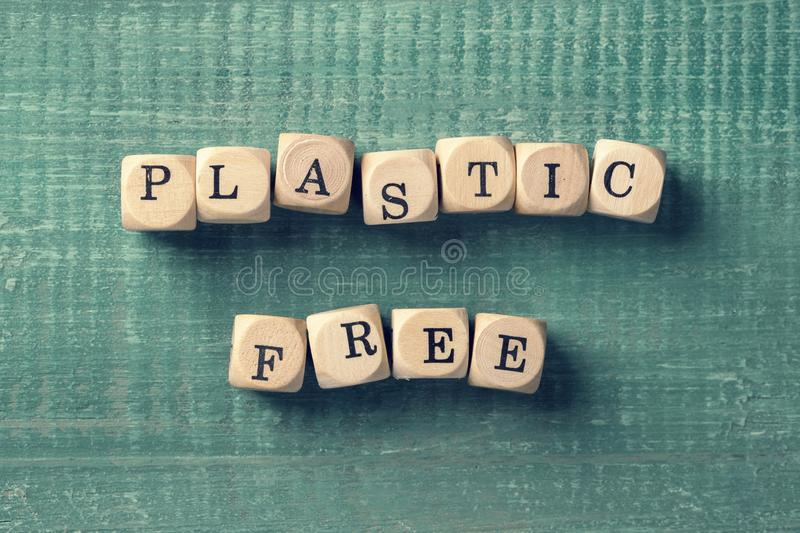 Letter cubes with word plastic free. Environment concept royalty free stock image