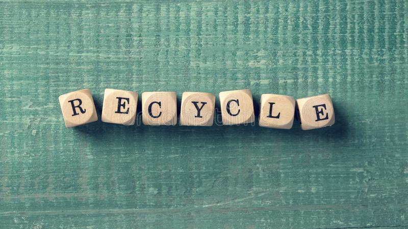 Letter cubes with word recycle. Environment concept royalty free stock photo