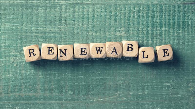 Letter cubes with word renewable. Environment concept stock photography