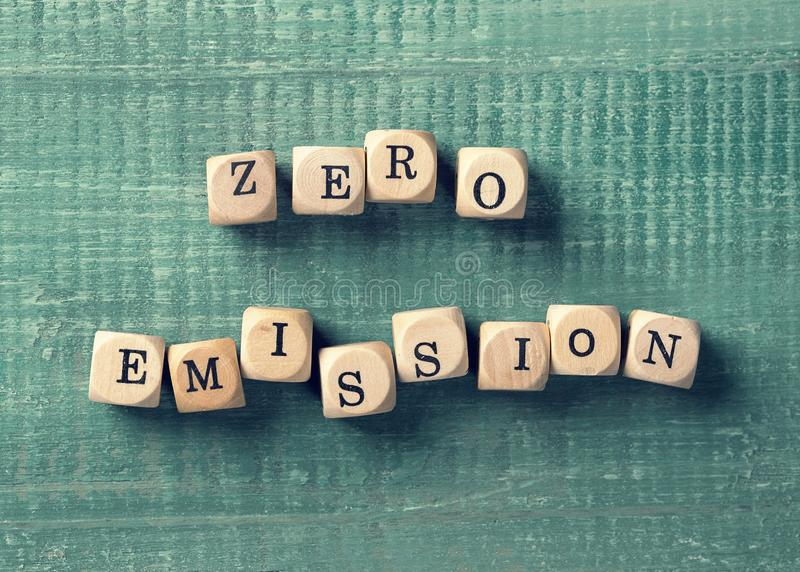 Letter cubes with word zero emission. Environment concept royalty free stock image