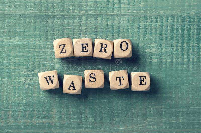 Letter cubes with word zero waste. Environment concept stock photo