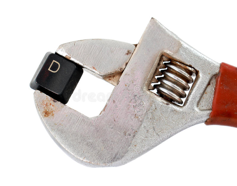 Letter d on adjustable pliers pipe wrench stock image