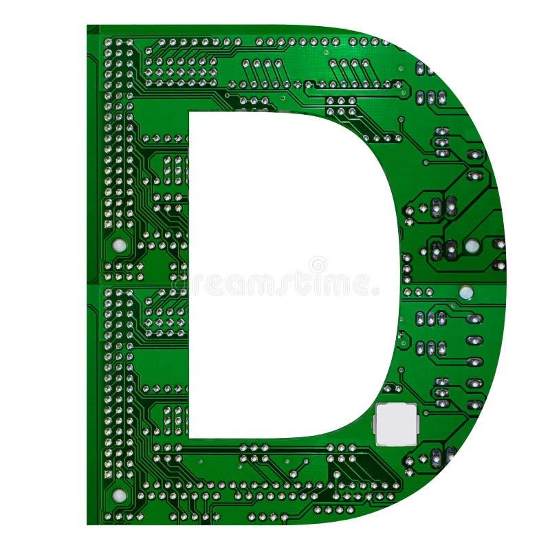 Letter D, Alphabet in circuit board style. Digital hi-tech letter isolated on white. 3d illustration.  stock illustration