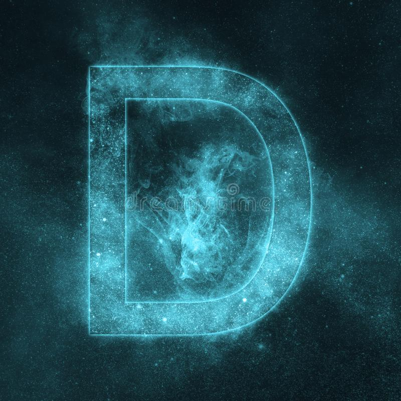 Letter D alphabet symbol. Space Letter, Night Sky Letter. Space letters vector illustration