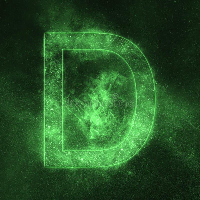 Letter D alphabet symbol. Space Letter, Night Sky Letter. Space letters stock illustration