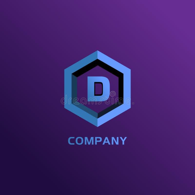 Letter D Alphabetic Company Logo Design Template, Light Blue Hexagon Logo Concept 向量例证