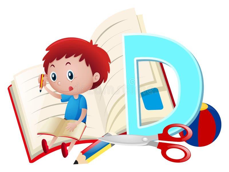Letter D and boy writing. Illustration stock illustration