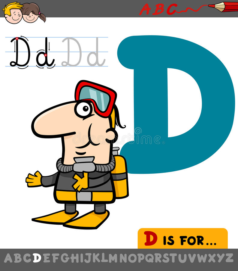 Letter d with cartoon diver vector illustration