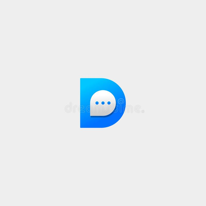 Letter D Chat Logo Template Vector Design. Message Icon, talk, line, bubble, simple, app, chatting, abstract, symbol, graphic, element, shape, creative, social royalty free stock images