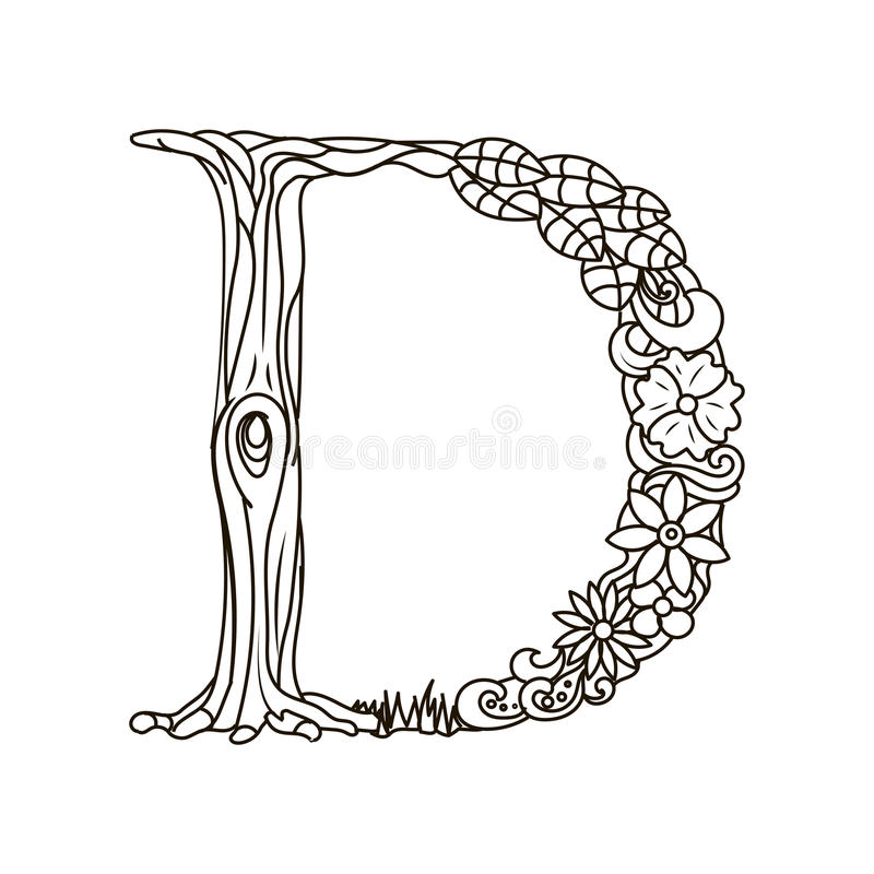 Letter D Coloring Book For Adults Vector Stock Vector