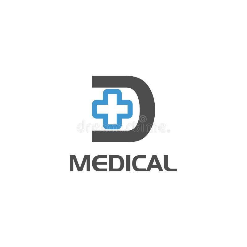 Letter D cross plus logo icon design template elements. Initial letter D cross medical logo design for clinic or medical offices vector illustration