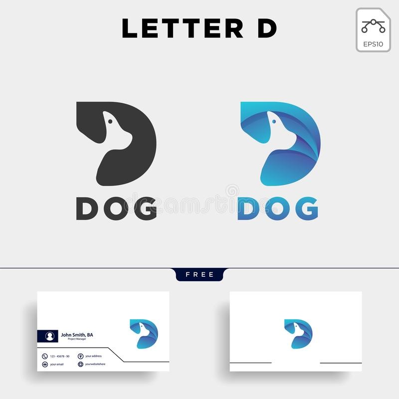 Letter D dog pet animal line art style logo template vector icon. Element isolated vector illustration