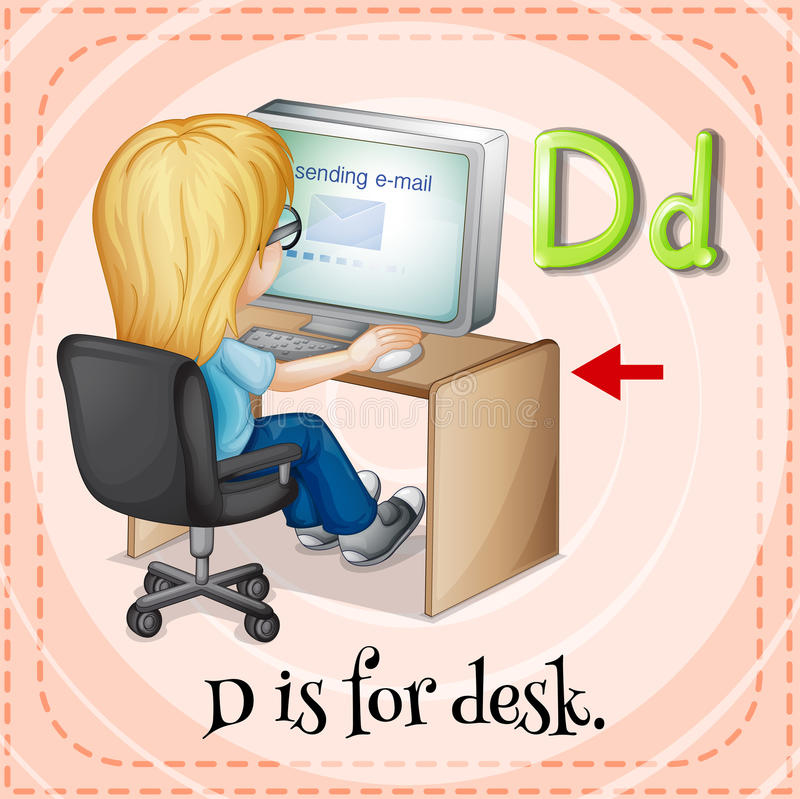 Letter D. Flashcard letter D is for desk royalty free illustration