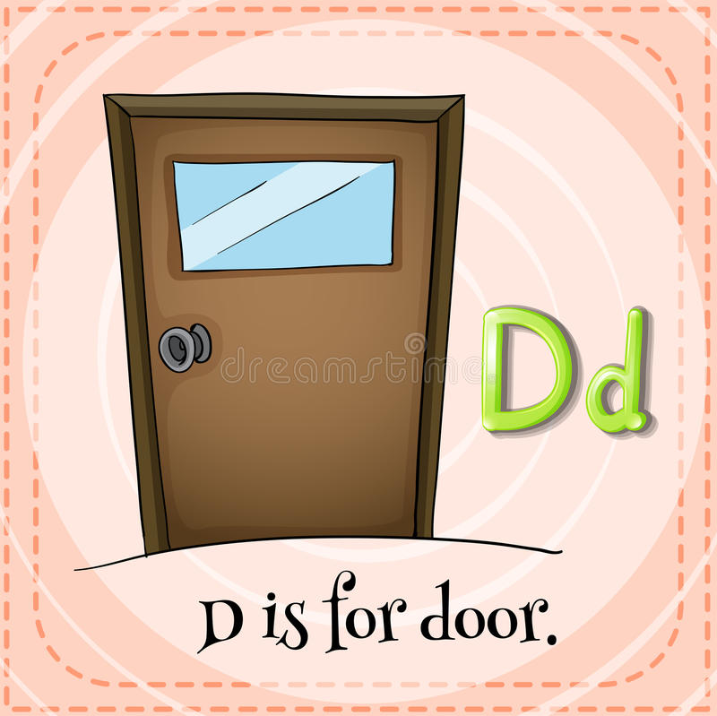 Letter D. Flashcard letter D is for door vector illustration