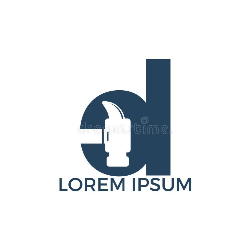 Letter D Hammer Logo Design  Stock Vector