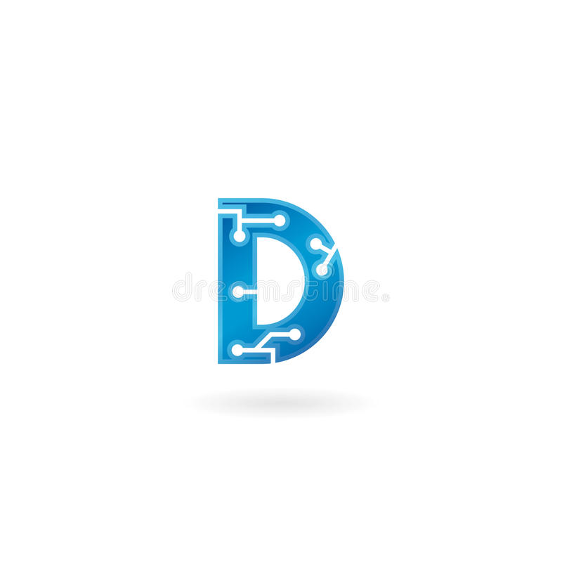 Letter D icon. Technology Smart logo, computer and data related business, hi-tech and innovative, electronic. stock illustration