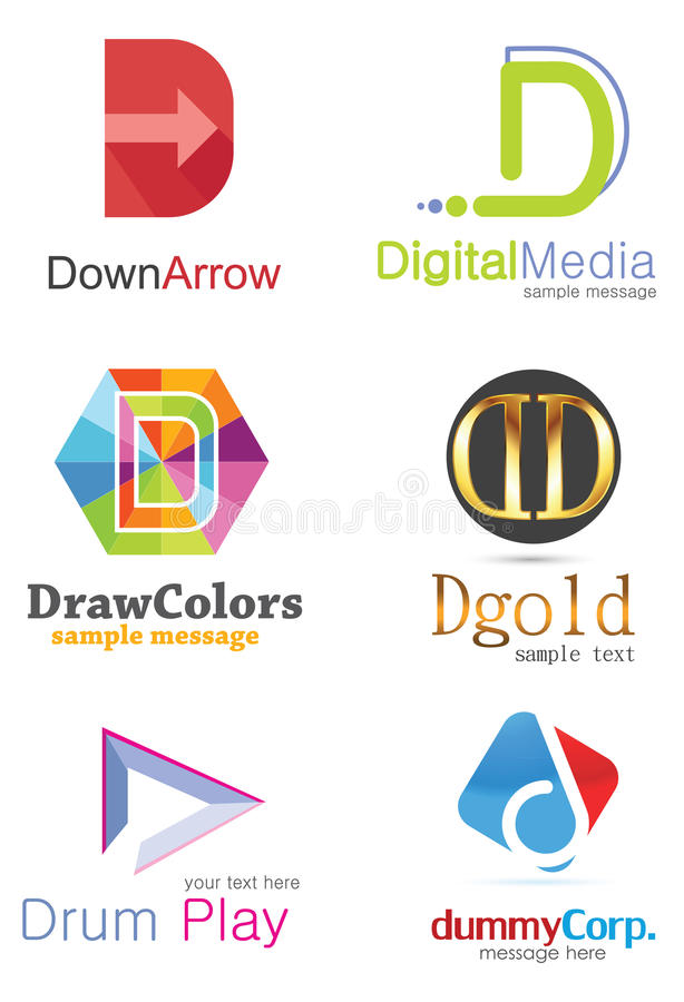 Letter D Logo. Alphabetical Logo Design Concepts. Letter D royalty free illustration